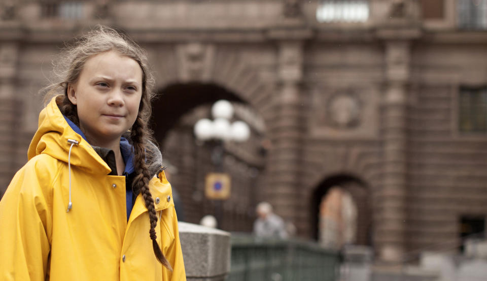 """This image released by Hulu shows activist Greta Thunberg in a scene from the documentary """"I Am Greta."""" The film premieres Friday on Hulu. (Hulu via AP)"""