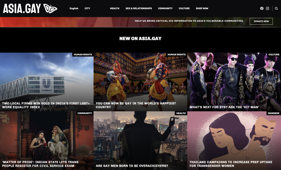 Asian LGBTQ communities now have a new resource in newly launched website asia.gay, which aims to provide the latest news in local native languages on topics including gay men's health, gay culture, lifestyle news, human rights, and politics.  Launched on World Aids Day (1 Dec), asia.gay aims to be the first community-led platform in the immensely diverse Asian region to provide LGBTQ-related news in a variety of local languages, apart from English.