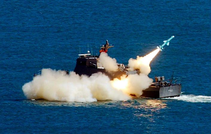 Taiwan navy ship launches a Hsiung Feng II missile