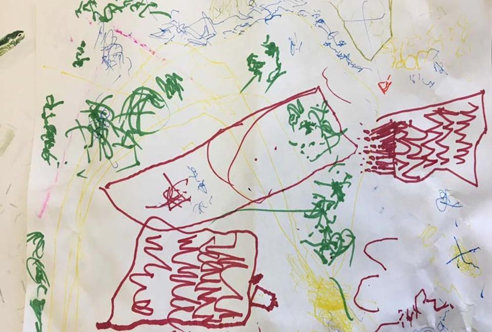 """<span class=""""caption"""">A child in the Willows Forest Nature Program drew a map of the arboretum: 'I'm with the bees; they're making honey.'</span> <span class=""""attribution""""><span class=""""source"""">(Louise Zimanyi)</span>, <span class=""""license"""">Author provided</span></span>"""