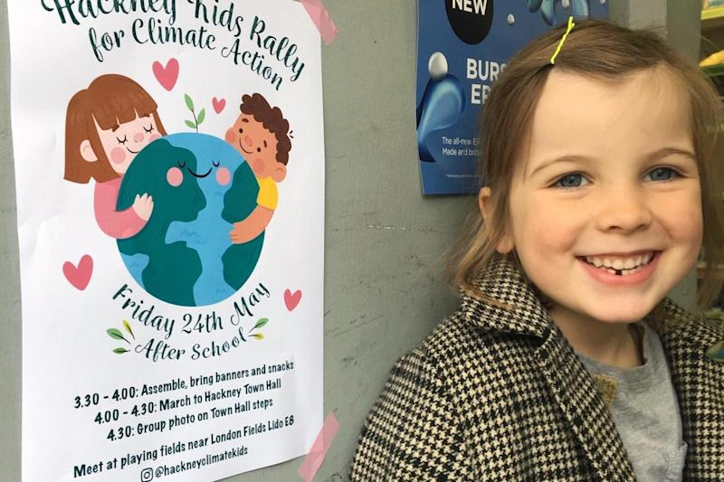 Schoolgirl, 5, sets up 'climate action' rally for primary kids