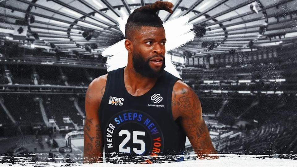 Reggie Bullock treated image, black jersey with faded grey MSG background