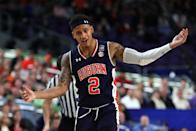 Bryce Brown #2 of the Auburn Tigers reacts in the first half against the Virginia Cavaliers during the 2019 NCAA Final Four semifinal at U.S. Bank Stadium on April 6, 2019 in Minneapolis, Minnesota. (Photo by Tom Pennington/Getty Images)