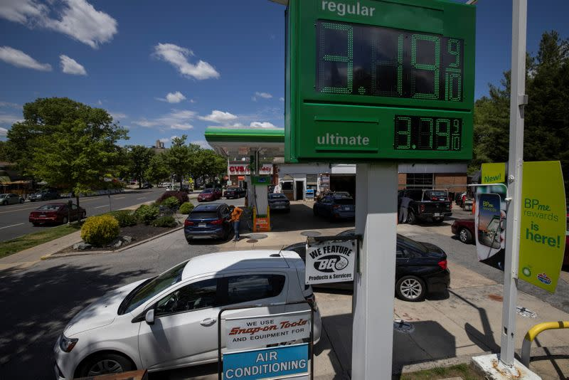 Gas prices are seen at BP gas station after cyberattack on Colonial Pipeline, in Washington