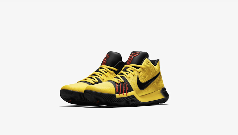 The Kyrie 3's take on Kobe's famous colorway.