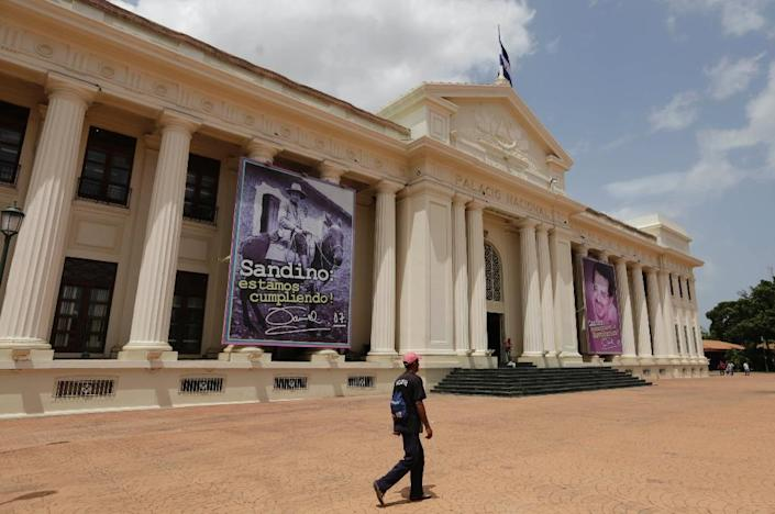 The plaza in front of Nicaragua's National Museum in Managua would normally be bustling with tourists, but many have canceled their visits (AFP Photo/Inti OCON)