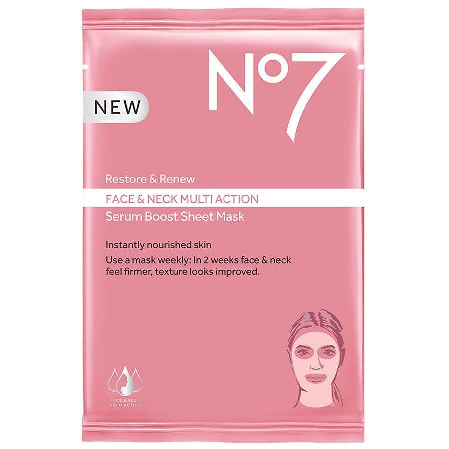 "<p>We love that No7 is showing our necks as much love as it shows our faces with the Restore & Renew Multi Action Serum Boost Sheet Mask. Made with calcium and <a href=""https://www.allure.com/story/skin-care-terms-glossary-definitions?mbid=synd_yahoo_rss"" rel=""nofollow noopener"" target=""_blank"" data-ylk=""slk:amino acids"" class=""link rapid-noclick-resp"">amino acids</a>, the mask doesn't stop at the jawline — it extends to the neck to share all the smoothing goodness with the often-ignored area of skin.</p> <p><strong>$6</strong> (<a href=""https://shop-links.co/1701789173536340625"" rel=""nofollow noopener"" target=""_blank"" data-ylk=""slk:Shop Now"" class=""link rapid-noclick-resp"">Shop Now</a>)</p>"