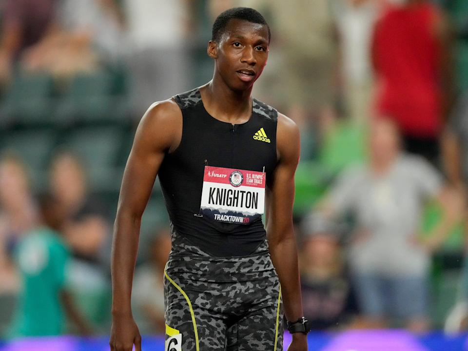 Erriyon Knighton competing at the us olympic track and field trials in 2021
