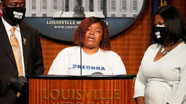 PHOTO: Tamika Palmer, the mother of Breonna Taylor, speaks during a news conference announcing a $12 million civil settlement between the estate of Breonna Taylor and the City of Lousiville, in Louisville, Kentucky, Sept. 15, 2020. (Bryan Woolston/Reuters)