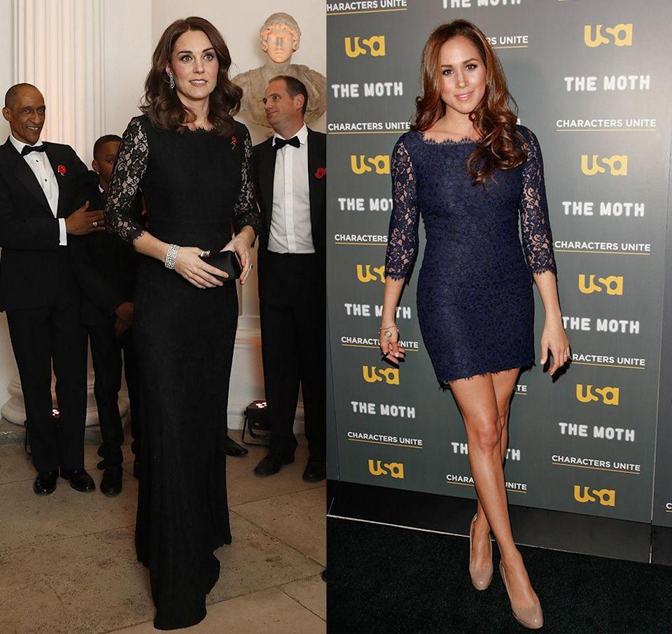 """<p>Before her days as a member of the royal family, the <em>Suits </em>actress wore a short version of the ever so popular Diane Von Furstenberg """"Zarita"""" dress. Then, in 2017, Kate Middleton wore a longer version of the dress in black to a gala in London. </p>"""