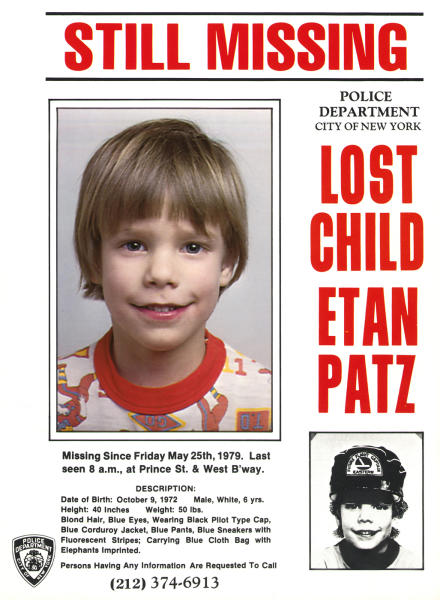 FILE - This undated file image provided by the New York Police Department shows a flyer distributed by the New York Police Department of Etan Patz, who vanished in New York on May 25, 1979. Pedro Hernandez, 51, the suspect in the 1979 disappearance of a Patz, has been indicted on charges of murder and kidnapping in the disappearance of Patz, his lawyer Harvey Fishbein said Wednesday, Nov. 14, 2012. Hernandez was arrested this year, and investigators say he confessed. (AP Photo/Courtesy New York Police Department) EDITORIAL USE ONLY, FOR USE ONLY IN ILLUSTRATING EDITORIAL STORIES REGARDING THE DISAPPEARANCE OF ETAN PATZ OR OTHER MISSING CHILDREN