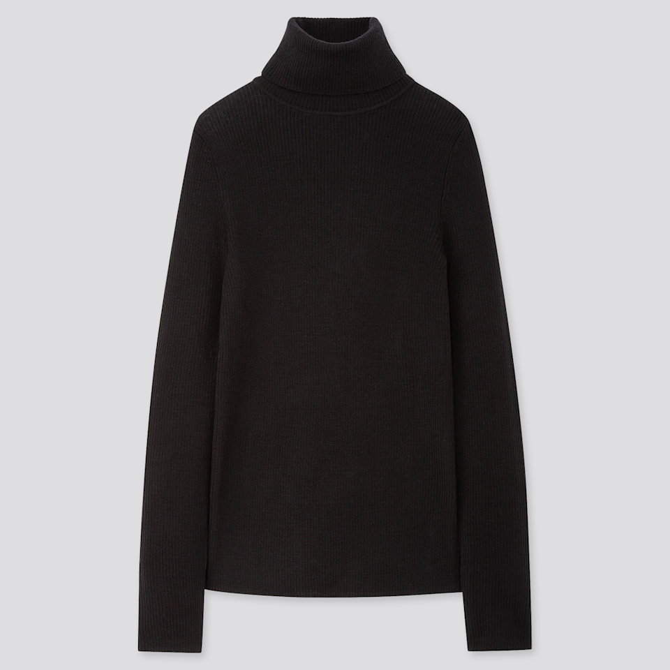 """To embody the magic of old Céline this Halloween, you want to look effortlessly cool, like you threw these oversized, muted pieces together in 30 seconds or less despite the fact that you've been trying on different combinations for the last two weeks. <br><br><strong>Uniqlo</strong> Extra Fine Merino Ribbed Turtleneck Sweater, $, available at <a href=""""https://go.skimresources.com/?id=30283X879131&url=https%3A%2F%2Fwww.uniqlo.com%2Fus%2Fen%2Fwomen-extra-fine-merino-ribbed-turtleneck-sweater-418673COL09SMA004000.html"""" rel=""""nofollow noopener"""" target=""""_blank"""" data-ylk=""""slk:Uniqlo"""" class=""""link rapid-noclick-resp"""">Uniqlo</a>"""