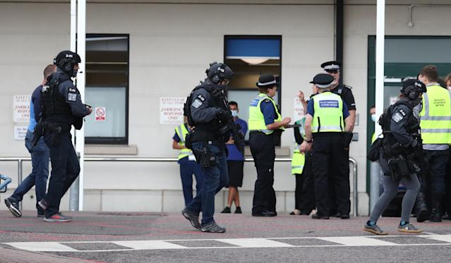 Counter Terrorist Specialist Firearms Officers at the Royal Sussex County Hospital in Brighton on Sunday.
