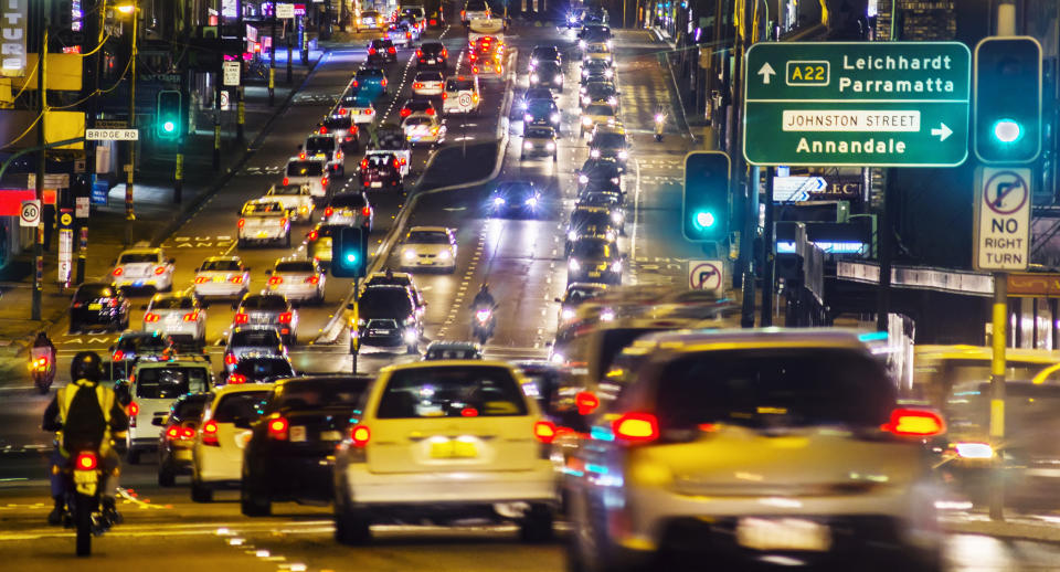 Typically heavy traffic on Parramatta Road, Sydney at dusk. Source: Getty Images
