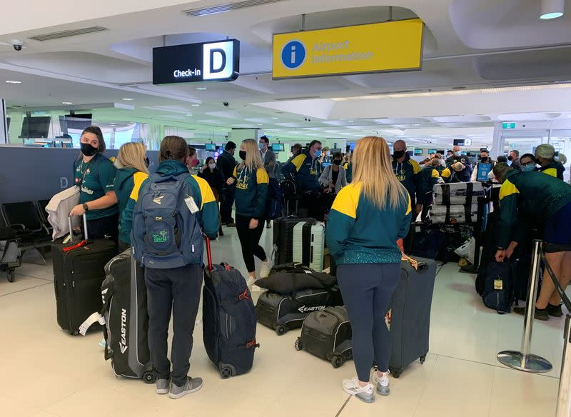 Members of Australia's Olympic softball squad at Sydney Airport on May 31, 2021 before their departure for a pre-Games training camp in Ota, Gunma Prefecture