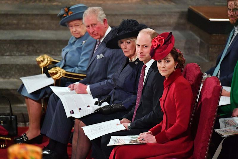 Queen Elizabeth II, the Prince of Wales, the Duchess of Cornwall and the Duke and Duchess of Cambridge: PA