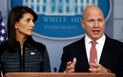 National security adviser H.R. McMaster, right, and U.S. Ambassador to the UN Nikki Haley, participate in a news briefing at the White House, in Washington - Credit: Carolyn Kaster
