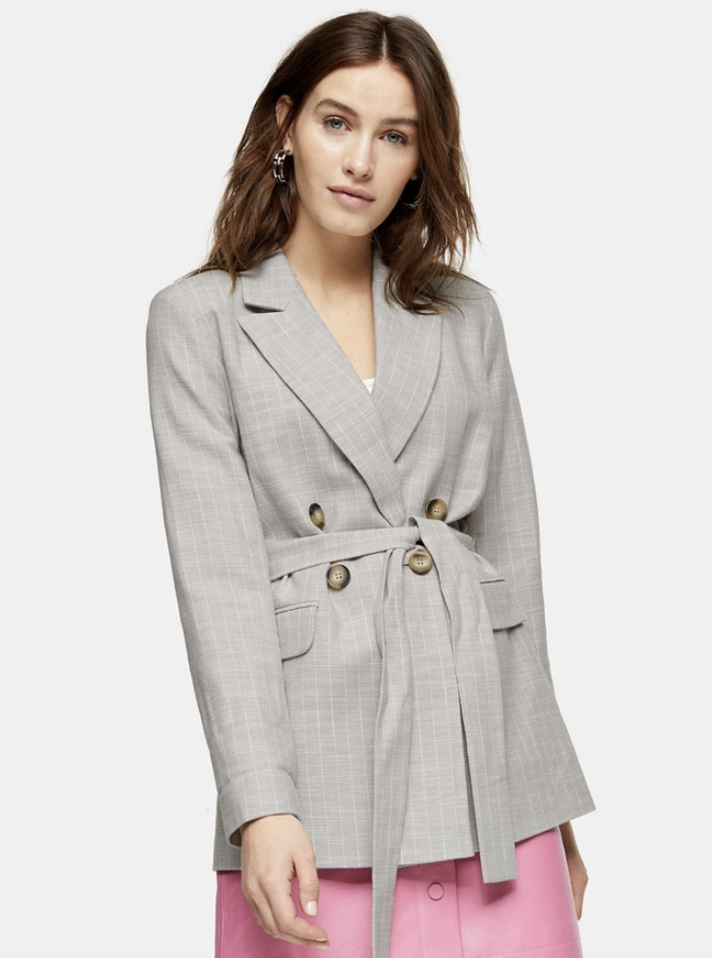 Topshop Grey Belted Blazer. (PHOTO: Zalora)