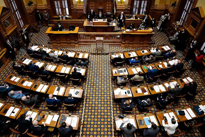 Lieutenant Governor of Georgia Geoff Duncan speaks in the Senate chambers on the legislative session's opening day in Atlanta, on Jan. 11, 2021.