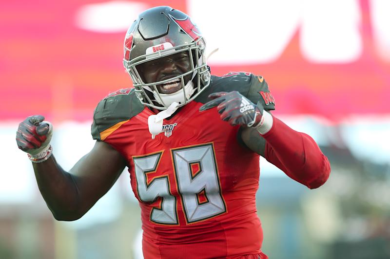 Tampa Bay linebacker Shaquil Barrett has 8.0 sacks through the first three games of the season. (Getty Images)