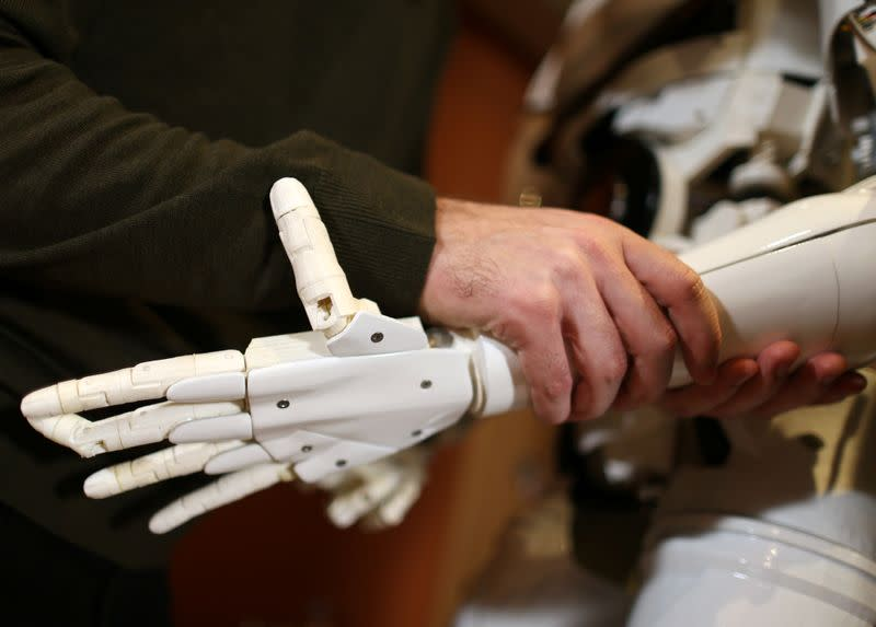 "Hand of the Humanoid robot called ""Robby Megabyte"" is seen in Sarajevo"