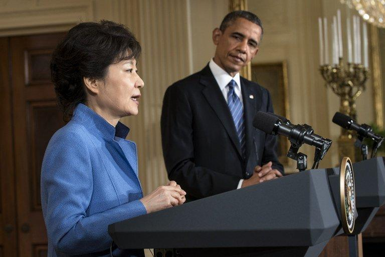US President Barack Obama and President of South Korea Park Geun-Hye, seen in Washington, DC, on May 7, 2013