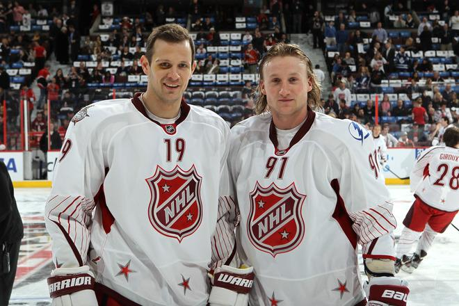 OTTAWA, ON - JANUARY 29:  Team Alfredsson Jason Spezza #19 of the Ottawa Senators and Steven Stamkos #91 of the Tampa Bay Lightning pose prior to the 2012 Tim Hortons NHL All-Star Game against Team Chara at Scotiabank Place on January 29, 2012 in Ottawa, Ontario, Canada.  (Photo by Bruce Bennett/Getty Images)