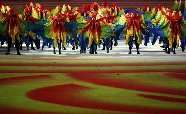 <p>Dancers perform at the Olympic Wings segment during the Closing Ceremony on Day 16 of the Rio 2016 Olympic Games at Maracana Stadium on August 21, 2016 in Rio de Janeiro, Brazil. (Photo by Patrick Smith/Getty Images) </p>