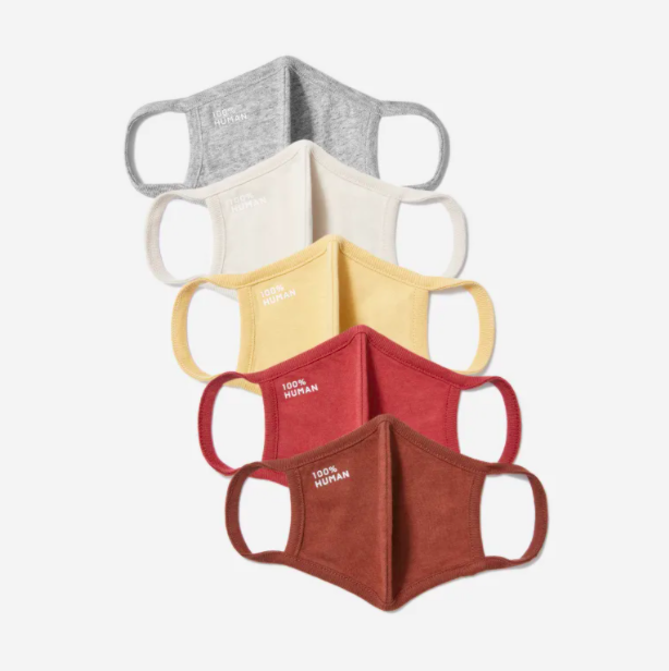 Everlane's 100% Human face masks are now available in a five-pack featuring warm, cozy tones.