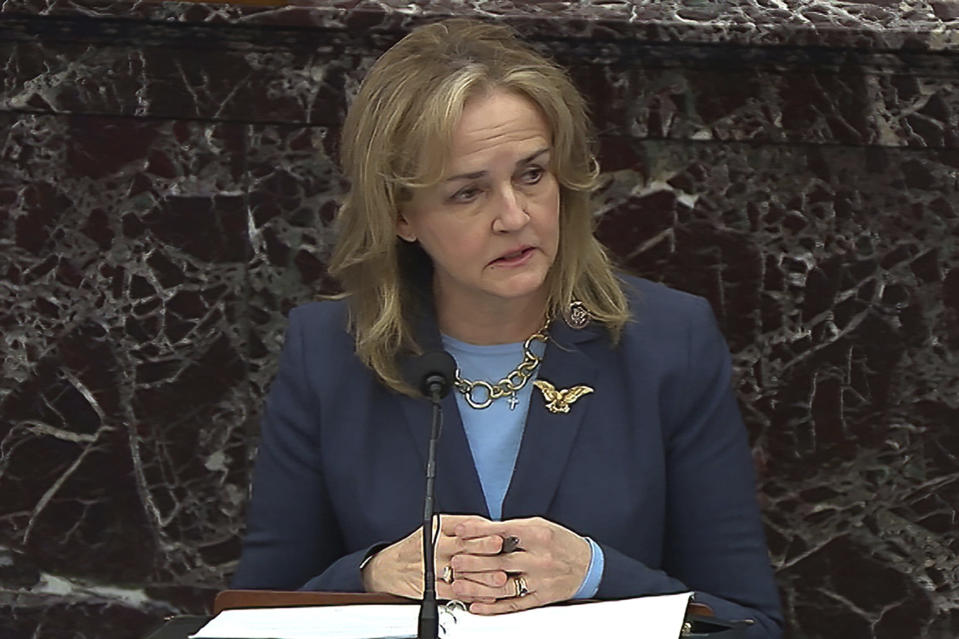 In this image from video, House impeachment manager Rep. Madeleine Dean, D-Pa., speaks during closing arguments in the second impeachment trial of former President Donald Trump in the Senate at the U.S. Capitol in Washington, Saturday, Feb. 13, 2021. (Senate Television via AP)
