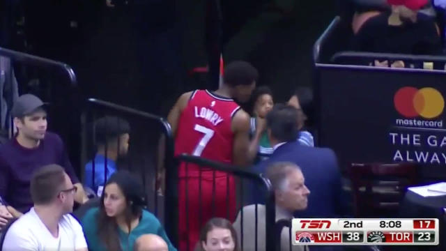 "<a class=""link rapid-noclick-resp"" href=""/nba/players/4152/"" data-ylk=""slk:Kyle Lowry"">Kyle Lowry</a>, kissing babies like a true politician. (TSN screen shot)"