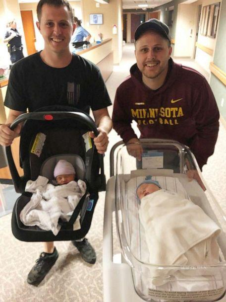 PHOTO: Jack Young, son of Ashley and Pat Young, arrived at Woodwinds Hospital on Sept. 19 at 6:01 p.m.Hours later, his cousin Cooper Young, son of Felicia and Paul Young, was born at 11:49 p.m. (Felicia Young)