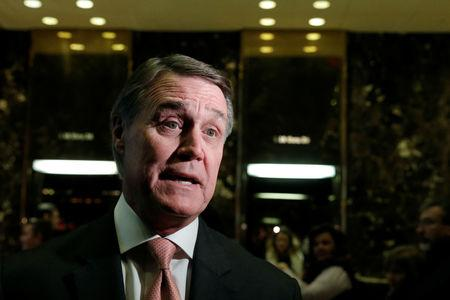 FILE PHOTO: U.S. Senator David Perdue (R-GA) speaks to members of the media after meeting with U.S. President-elect Donald Trump at Trump Tower in New York, U.S., December 2, 2016.   REUTERS/Mike Segar