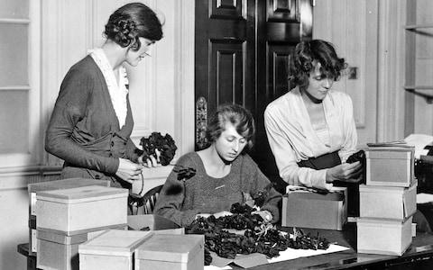 A group of volunteers packing artificial poppies for Armistice Day in 1921. - Credit: Getty Images