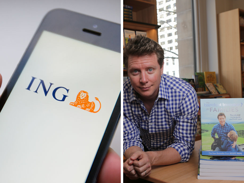 A split image of the ING logo on a mobile phone and Barefoot Investor author Scott Pape at his book signing.