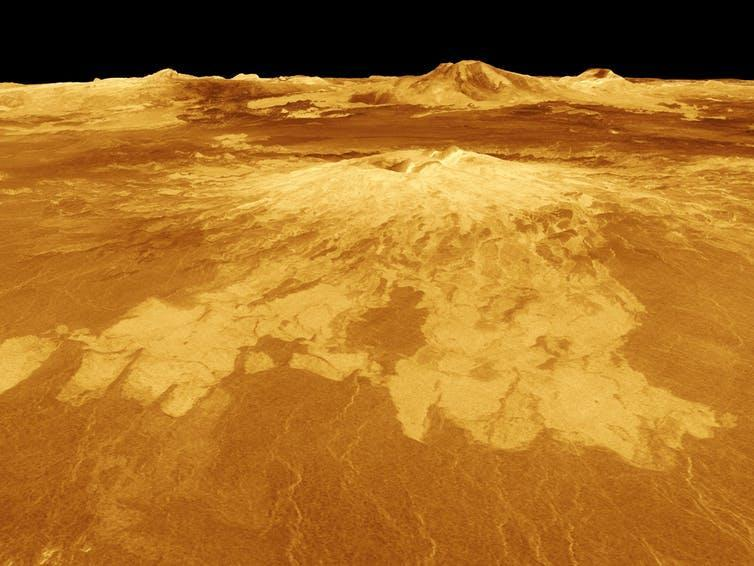"""<span>The lifeless surface of Venus shows the consequences of a runaway greenhouse effect.</span> <span><a class=""""link rapid-noclick-resp"""" href=""""https://www.nasa.gov/sites/default/files/images/119541main_image_feature_358_ys_full.jpg"""" rel=""""nofollow noopener"""" target=""""_blank"""" data-ylk=""""slk:NASA"""">NASA</a></span>"""