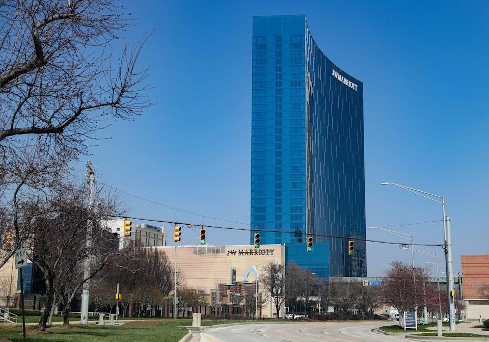 The JW Marriott hotel is seen in downtown Indianapolis on Wednesday, March 25, 2020.