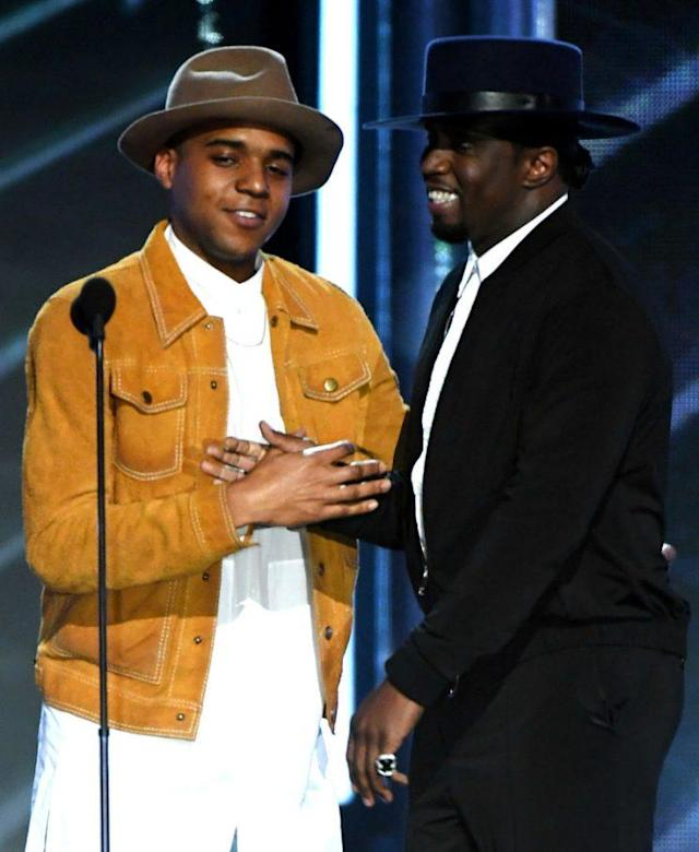 LAS VEGAS, NV – MAY 21: Actor Christopher Jordan Wallace (L) and recording artist Sean 'Diddy' Combs speak onstage during the 2017 Billboard Music Awards at T-Mobile Arena on May 21, 2017 in Las Vegas, Nevada. (Photo by Ethan Miller/Getty Images)