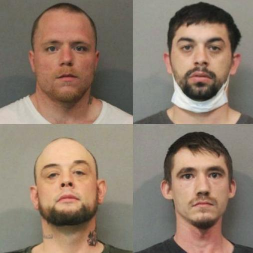 Top, Paul David Blankenship, Phillip David Guzman, and bottom, Christopher William Jay Henderson and Jacob Baughman. (Lake County Jail)