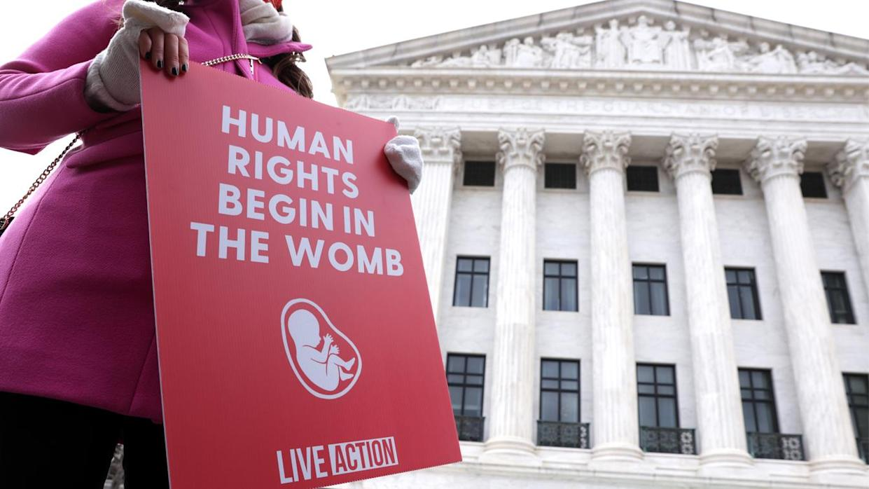 An anti-abortion activist protests outside the Supreme Court during the 48th annual March for Life in January.
