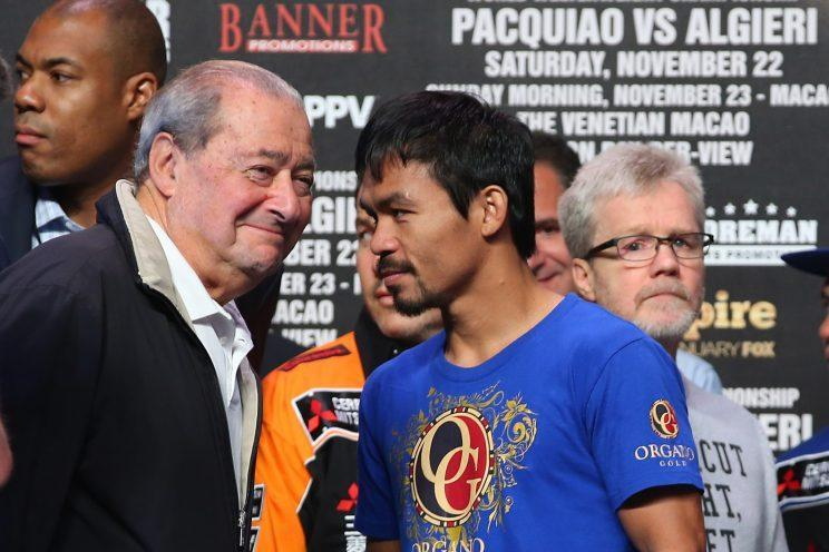 Bob Arum, left, and Manny Pacquiao (Getty Images)