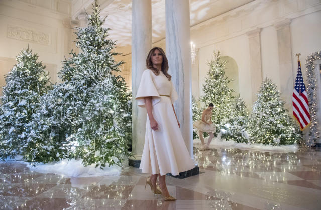 First lady Melania Trump tours Christmas decorations at the White House in Washington, D.C., on Monday. (Saul Loeb/AFP/Getty Images)