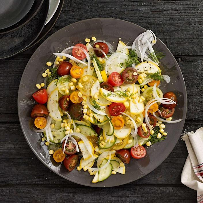 <p>Allowing the salad to sit for at least 30 minutes before serving means the raw vegetables get a chance to soak up the tangy-sweet dressing in this healthy side dish recipe. Serve with grilled chicken, steak, mushrooms or tofu.</p>