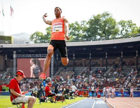 IAAF Athletics Diamond League - Men's Long Jump - Stockholm Stadium, Stockholm, Sweden - June 10, 2018 - Juan Miguel Echevarria of Cuba competes to win the men's long jump event. TT News Agency/Christine Olsson via REUTERS