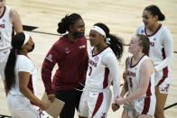 Alabama guard Jordan Lewis (3) celebrates with teammates during the first half of a college basketball game against North Carolina in the first round of the women's NCAA tournament at the Alamodome in San Antonio, Monday, March 22, 2021. (AP Photo/Eric Gay)