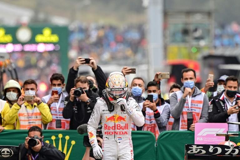 Good weekend: Max Verstappen climbed out of his Red Bull as the championship leader (AFP/ANDREJ ISAKOVIC)