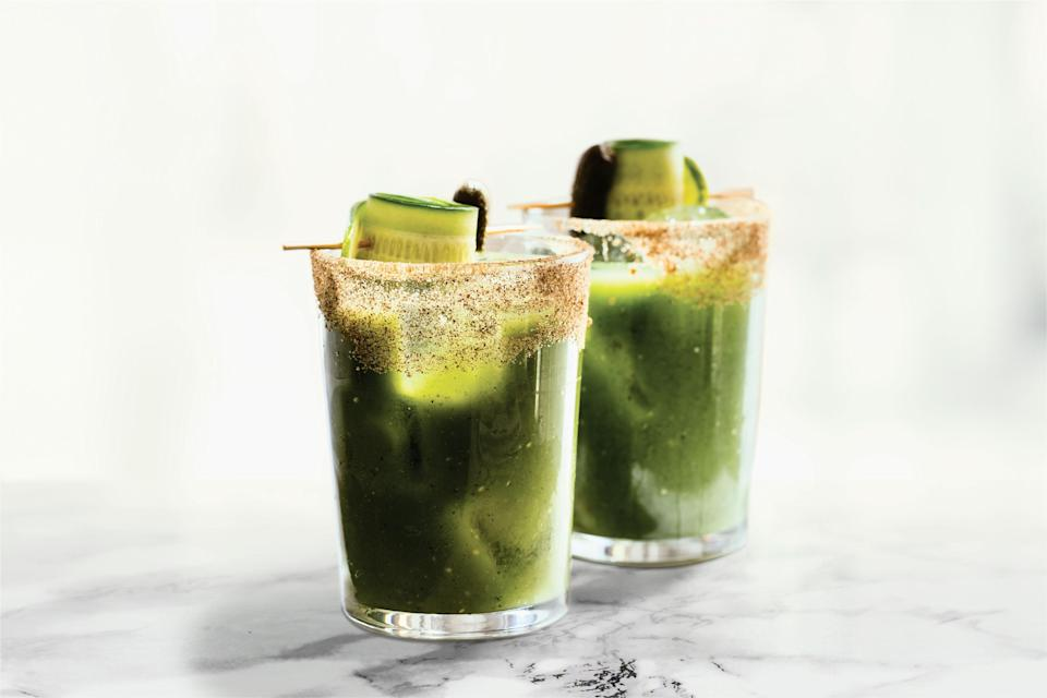 """Maybe a drink alongside that skillet of eggs? This refreshing green Bloody is made with cucumber, tart tomatillo, parsley, lemon, and green Tabasco. <a href=""""https://www.epicurious.com/recipes/food/views/green-bay-bloody-mary-bartels?mbid=synd_yahoo_rss"""" rel=""""nofollow noopener"""" target=""""_blank"""" data-ylk=""""slk:See recipe."""" class=""""link rapid-noclick-resp"""">See recipe.</a>"""