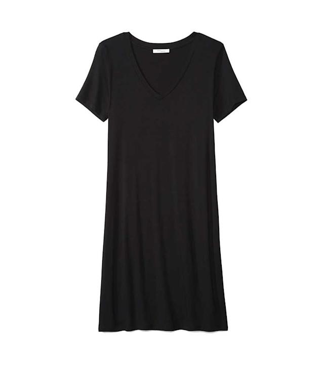 "<p>Women's Jersey Short-Sleeve V-Neck T-Shirt Dress in Black, $18 + up to 50% off,<a href=""https://www.amazon.com/dp/B0792GRZ2F/"" rel=""nofollow noopener"" target=""_blank"" data-ylk=""slk:amazon.com"" class=""link rapid-noclick-resp""> amazon.com </a> </p>"
