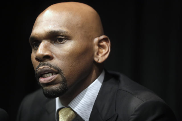New Vanderbilt basketball coach Jerry Stackhouse answers questions at a news conference Monday, April 8, 2019, in Nashville, Tenn. (AP Photo/Mark Humphrey)