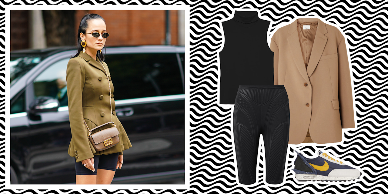 """<p>Biker shorts, <a href=""""https://www.marieclaire.com/fashion/g26985486/best-leggings-amazon/"""" target=""""_blank"""">like leggings</a>, are a comfortable yet classic wardrobe staple that toe the line between """"save it for the gym"""" and street-style cool. Thanks to celebrities like <a href=""""https://www.marieclaire.com/fashion/g25472417/royals-casual-outfits/?slide=11"""" target=""""_blank"""">Princess Diana</a> (circa the '90s) and <a href=""""https://www.eonline.com/photos/24651/how-celebrities-wear-cycling-shorts/850328"""" target=""""_blank"""">current celebrities</a> like Kendall Jenner and Emily Ratajkowski, however, the rise of wearing biker shorts outside of a Pilates class is generally accepted as part of any athleisure lover's wardrobe. And if you need an actual fashion stamp of approval, one only needs to review this <a href=""""https://www.harpersbazaar.com/fashion/trends/g23562622/best-bike-shorts-leggings/"""" target=""""_blank"""">Chanel runway show</a>.<br></p><p>I know the idea of incorporating this bodycon bottom into your everyday wardrobe can be a bit of a challenge. Therefore, I've dreamed up a few ways to style biker shorts so you'll actually want to wear them IRL. After all, the comfort and versatility of biker shorts are unmatched. The piece can be elevated with a blazer and heel or styled casually with a moto jacket and sneakers. Ahead, are five stylish ways to wear your biker shorts come spring/summer 2020.</p>"""